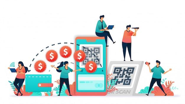 Векторная иллюстрация транзакции с использованием банкноты или деньги на цифровой кошелек. Premium векторы