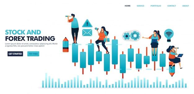 外国為替取引、株式、投資信託、商品、通貨のローソク足チャート。 Premiumベクター