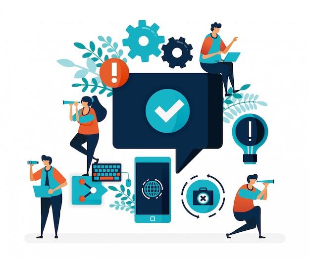 Одобрить и проверить комментарии пользователей, социальные сети, мобильные устройства, интернет-ресурсы Premium векторы