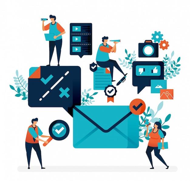 Подтверждение и уведомление для получения электронной почты. проверьте или перекрестный выбор, чтобы ответить на сообщение Premium векторы
