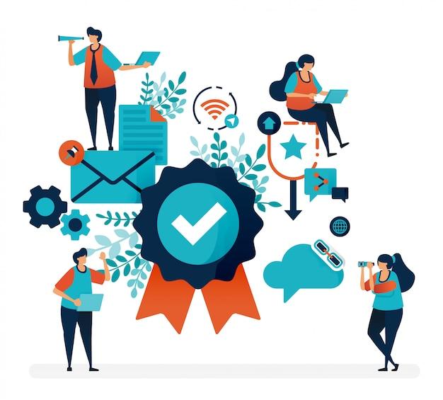 Гарантийный знак и гарантия удовлетворенности клиентов. проверка и подтверждение качества Premium векторы