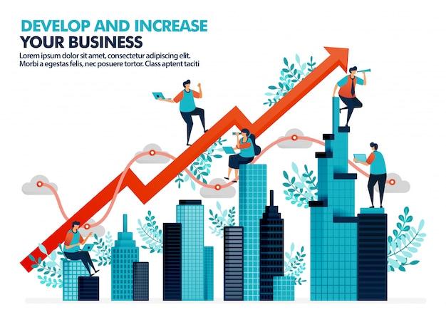 Повысить эффективность бизнеса за счет инвестиций в недвижимость. Premium векторы