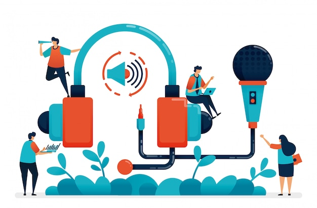 ラジオ録音用のヘッドセットとマイク、マルチメディア制作ポッドキャスト。 Premiumベクター