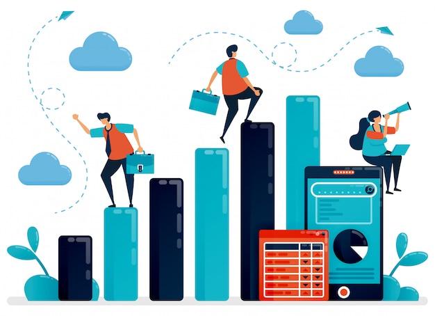 Концепция анализа данных и планирования. зарплата человек проверить статистику для годового отчета. мобильный отчет с графиком и таблицей. Premium векторы