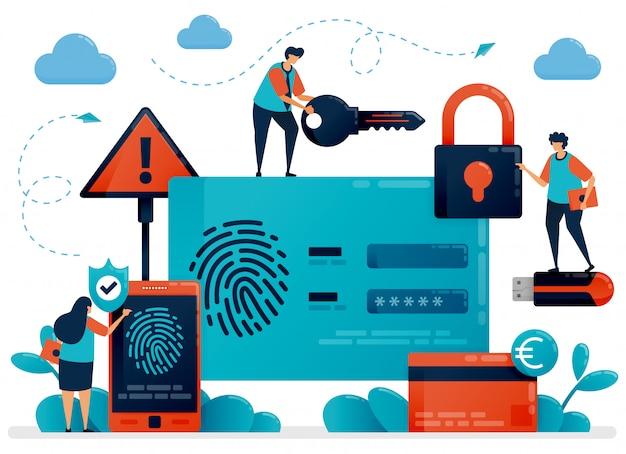 Технология распознавания отпечатков пальцев для безопасности идентификатора пользователя. сканер отпечатков пальцев приложение для защиты персональных данных. идентификация защиты кибербезопасности для защиты платежей. логин по отпечатку пальца Premium векторы