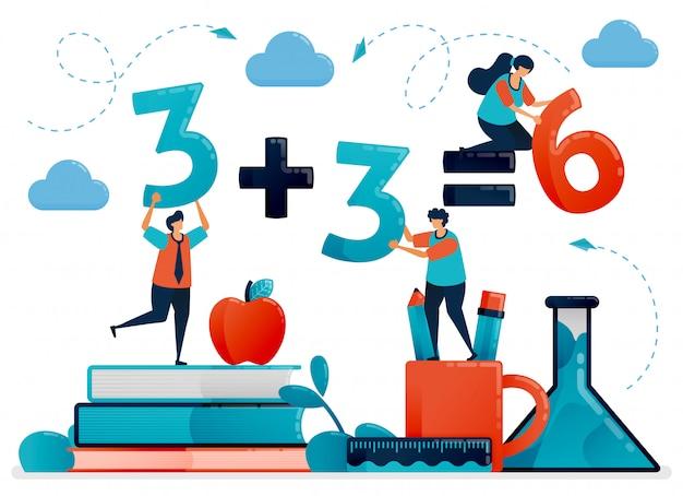 子供のための教育のイラスト。数と数への数学のレッスン。学校で学ぶ子供たち。幼稚園 Premiumベクター