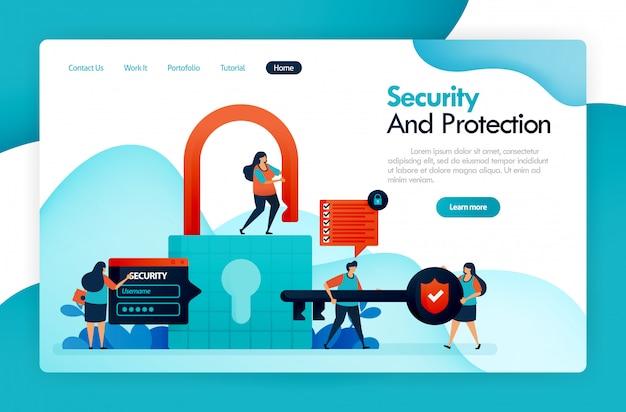 セキュリティと保護のランディングページ、南京錠とロック、ユーザーデータのハッキング、プライバシーと金融の保護、デジタルシステムの保護、安全なデータアカウント。 Premiumベクター