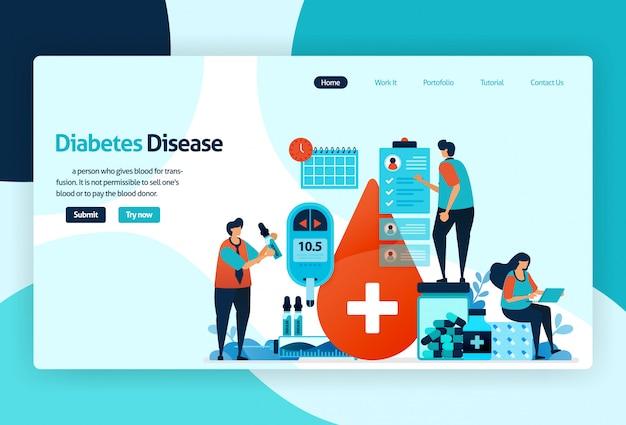 Целевая страница диабетической болезни Premium векторы