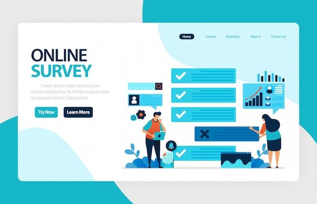 Целевая страница онлайн-опроса Premium векторы