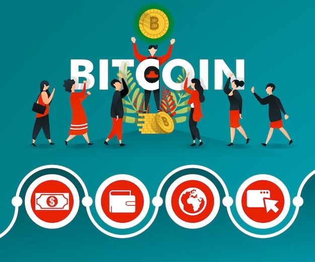 ビットコインプロモーショングリーンポスター Premiumベクター