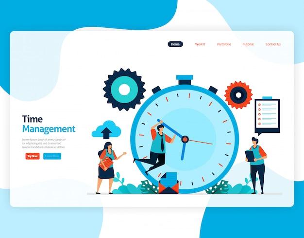 時間管理とスケジューリングジョブプロジェクトのランディングページ、時間どおりの作業の計画と管理、ビジネスの時間の不足、時間の処理。 Premiumベクター