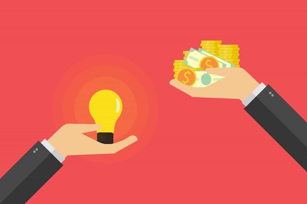 Рука держит лампочку и другую руку предлагает деньги иллюстрация Premium векторы