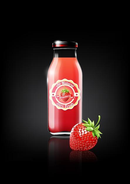 Клубничный сок в стеклянной бутылке Premium векторы