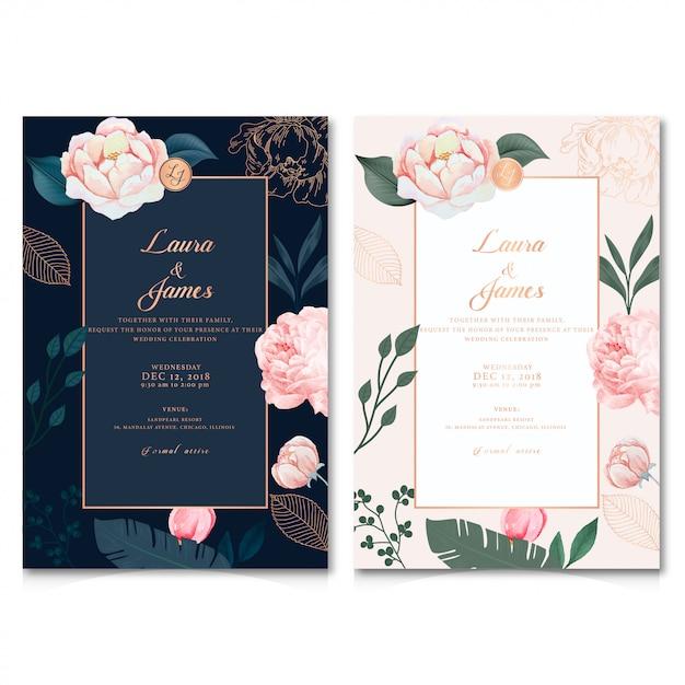 結婚式招待状 Premiumベクター