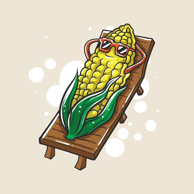 トウモロコシのキャラクターのイラストは夏にリラックスしています Premiumベクター
