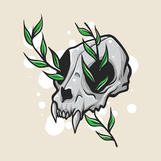 Животный череп с листьями иллюстрации Premium векторы