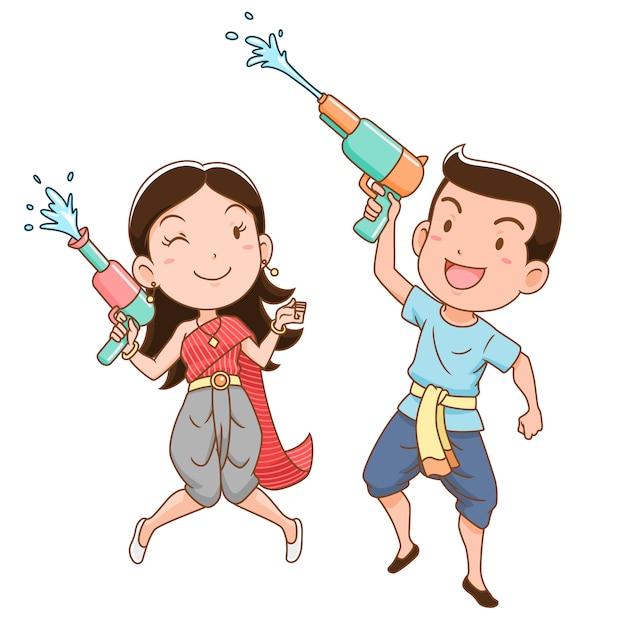 タイのソンクラン祭りで水鉄砲を保持している少年と少女の漫画のキャラクター。 Premiumベクター