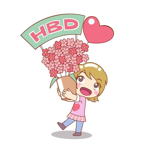 Мультфильм характер девочка держит букет цветов на день рождения. Premium векторы