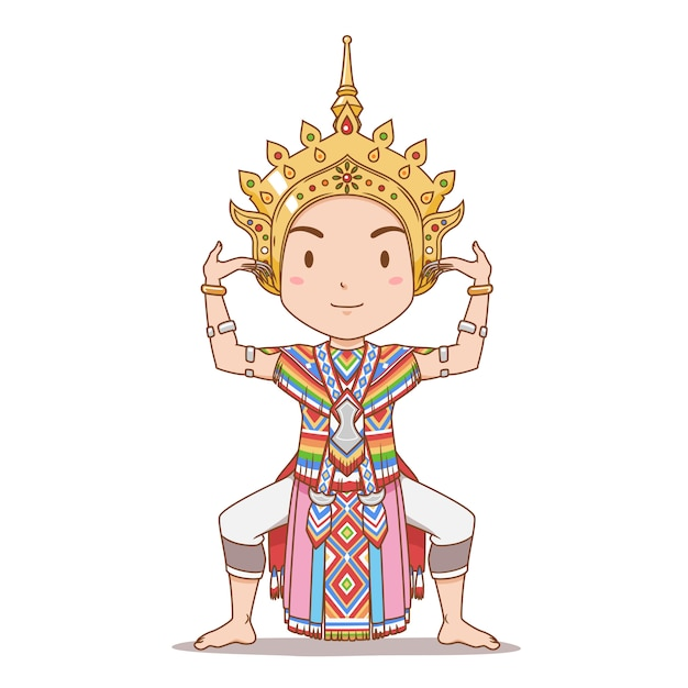 タイ南部の伝統的なタイのダンサーの漫画のキャラクター。マノラダンス。 Premiumベクター