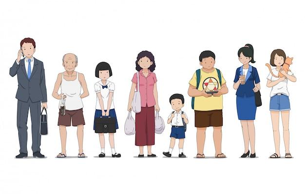 Набор различных людей в разных позах, стоя на улице. Premium векторы