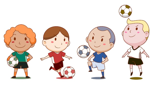 かわいいサッカー選手の漫画のイラスト ベクター画像 プレミアム