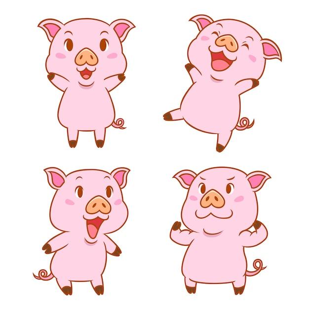 Набор милых мультяшных свиней в разных позах. Premium векторы