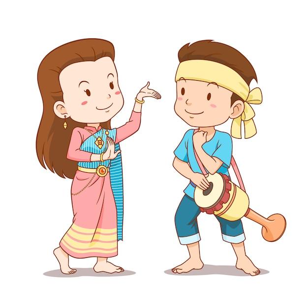 伝統的なタイダンサーのかわいいカップル漫画。タイのロングドラムダンス。 Premiumベクター