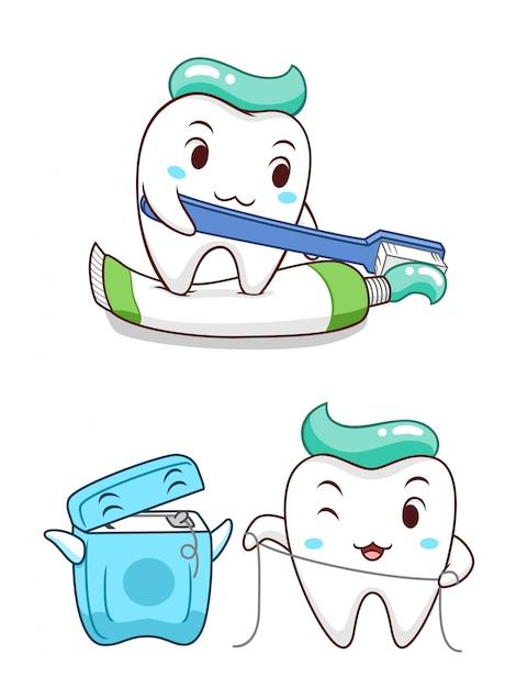 歯磨き粉を絞り、デンタルフロスで自分自身をきれいにするかわいい漫画の歯。 Premiumベクター