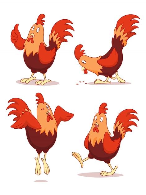 Набор мультфильм курица в разных позах. Premium векторы