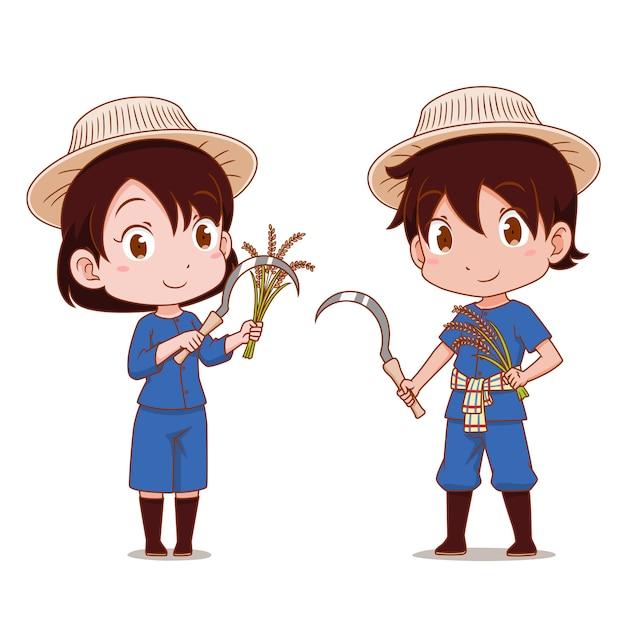 タイの農家のかわいいカップル。 Premiumベクター