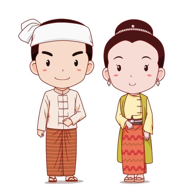 ミャンマーの伝統的な衣装の漫画のキャラクターのカップル。 Premiumベクター