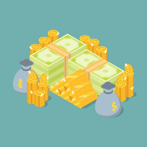 Группа денег стека, золотые слитки, монеты и копилку в изометрической проекции Premium векторы