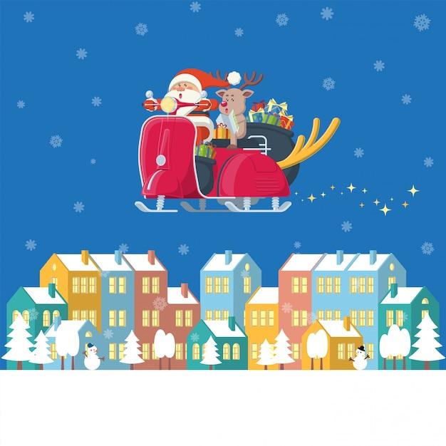 Санта-клаус и олень езда старинный скутер пролетел над зимним городом ночью в плоском мультяшном стиле Premium векторы