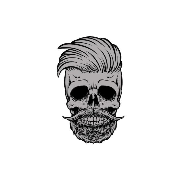 Череп-глава парикмахерская с усами и бородкой Premium векторы