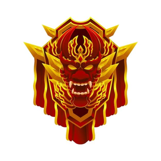 Элемент значки объектов достижение эмблемы дракон для игры Premium векторы