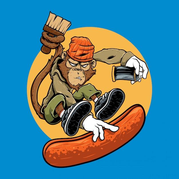 Иллюстрация символ обезьяна прыжок граффити езда скейтборд Premium векторы