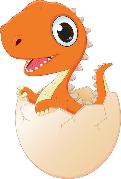 幸せな赤ちゃん恐竜の孵化 Premiumベクター