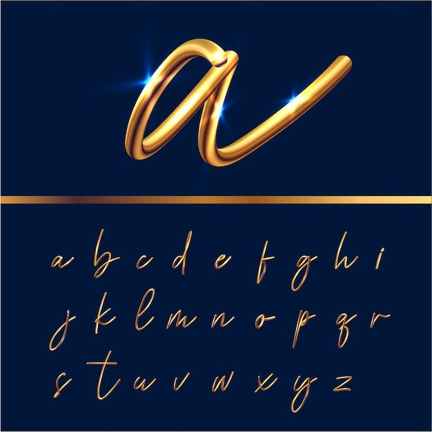ゴールデンテキストアルファベットセット Premiumベクター