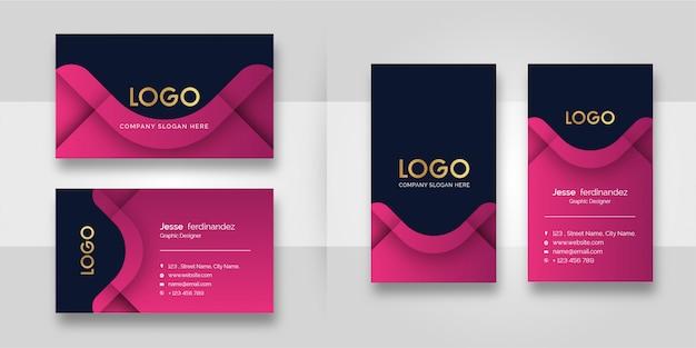 モダンなピンクの形の名刺テンプレート Premiumベクター
