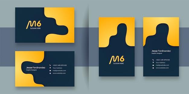 Шаблон визитной карточки абстрактный желтый цвет Premium векторы