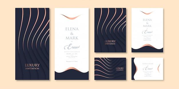 Шаблон приглашения темы темного цвета в роскошном стиле с тремя вариациями Premium векторы