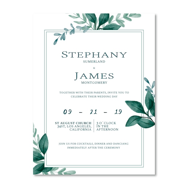 水彩の葉で飾られたウェディングカード。 Premiumベクター