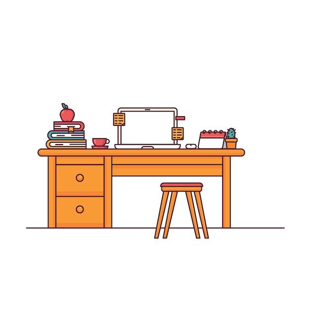 Набор компьютерных столов для домашнего офиса Premium векторы