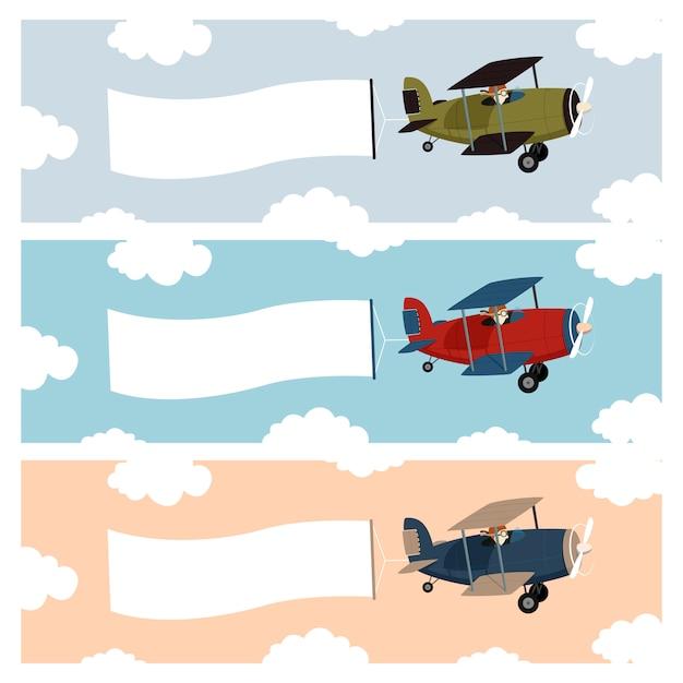 Маленький самолет с рекламным баннером машут Premium векторы