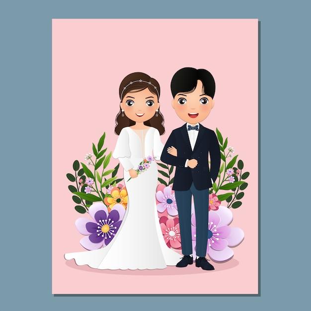 結婚式の招待カードの新郎新婦のかわいいカップルの漫画のキャラクター。 Premiumベクター