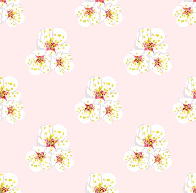 Белый цвет сливы бесшовные на розовом фоне Premium векторы