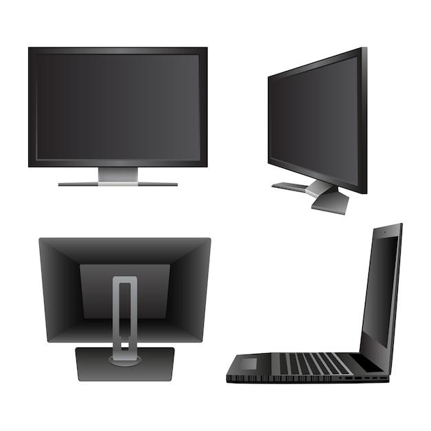 コンピュータモニタノートブックラップトップを設定する Premiumベクター