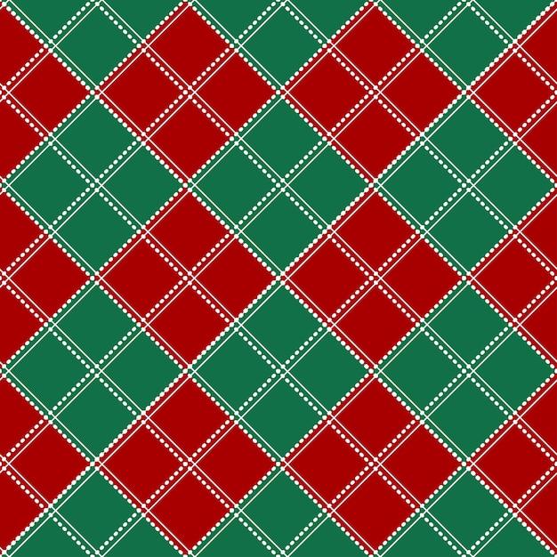 レッドグリーンホワイトチェスボードクリスマスの背景。 Premiumベクター
