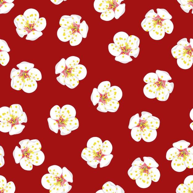 Белый цветок сливы цветок бесшовные на красном фоне. Premium векторы