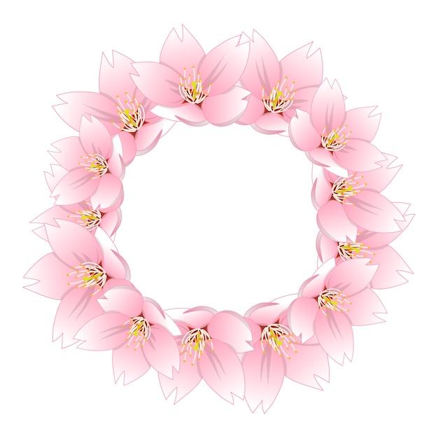 Сакура вишневый цветной венок Premium векторы